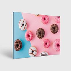 Холст прямоугольный Сладкие пончики цвета 3D — фото 1