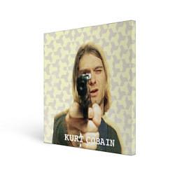 Холст квадратный Кобейн с пистолетом цвета 3D — фото 1