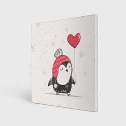 Холст квадратный Влюбленный пингвин цвета 3D — фото 1