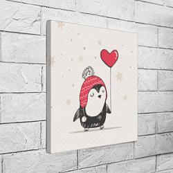 Холст квадратный Влюбленный пингвин цвета 3D — фото 2
