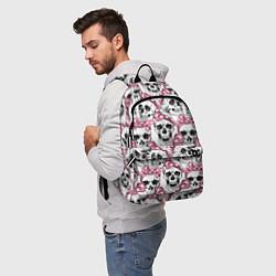 Рюкзак Черепа в розовых платках цвета 3D — фото 2