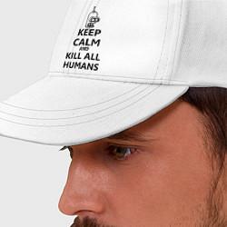 Бейсболка Keep Calm & Kill All Humans цвета белый — фото 2