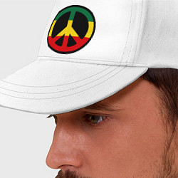 Бейсболка Peace Symbol цвета белый — фото 2