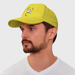 Бейсболка Смайл сомневается цвета желтый — фото 1