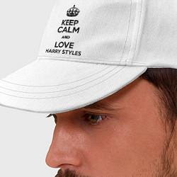 Бейсболка Keep Calm & Love Harry Styles цвета белый — фото 2