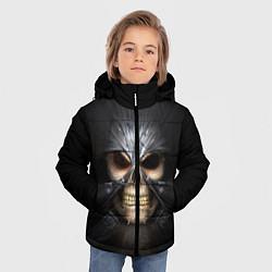 Куртка зимняя для мальчика Скелет в маске цвета 3D-черный — фото 2