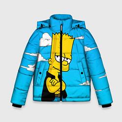 Куртка зимняя для мальчика Задумчивый Барт цвета 3D-черный — фото 1