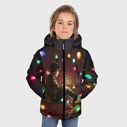 Детская зимняя куртка для мальчика с принтом Парень с лампочками, цвет: 3D-черный, артикул: 10135899306063 — фото 2