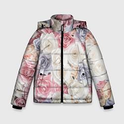 Куртка зимняя для мальчика Букет из роз цвета 3D-черный — фото 1