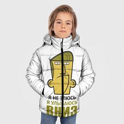 Куртка зимняя для мальчика Я не злюсь, я улыбаюсь вниз цвета 3D-черный — фото 2