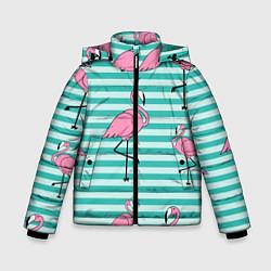 Куртка зимняя для мальчика Полосатые фламинго цвета 3D-черный — фото 1