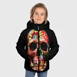 Куртка зимняя для мальчика Расписной череп цвета 3D-черный — фото 2
