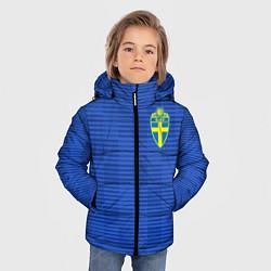 Детская зимняя куртка для мальчика с принтом Сборная Швеции: Гостевая ЧМ-2018, цвет: 3D-черный, артикул: 10151652906063 — фото 2