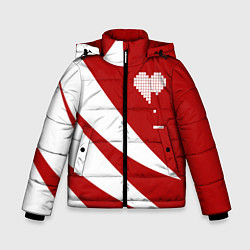 Детская зимняя куртка для мальчика с принтом Игра в сердца, цвет: 3D-черный, артикул: 10152700106063 — фото 1