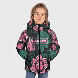 Куртка зимняя для мальчика Black Pink: Delicate Flowers цвета 3D-черный — фото 2