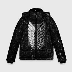 Куртка зимняя для мальчика Атака Титанов: белая пыль цвета 3D-черный — фото 1