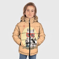 Куртка зимняя для мальчика Raccoon Love Coffee цвета 3D-черный — фото 2