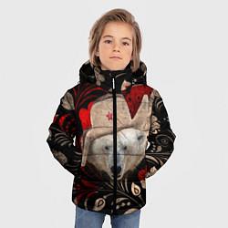 Куртка зимняя для мальчика Медведь в ушанке цвета 3D-черный — фото 2