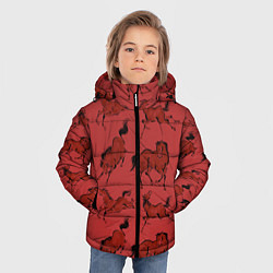 Куртка зимняя для мальчика Красные кони цвета 3D-черный — фото 2