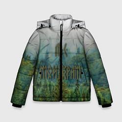 Куртка зимняя для мальчика Лес мой храм цвета 3D-черный — фото 1