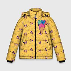 Детская зимняя куртка для мальчика с принтом Минни Маус мороженое, цвет: 3D-черный, артикул: 10250066506063 — фото 1