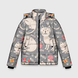 Куртка зимняя для мальчика Милые кошечки цвета 3D-черный — фото 1