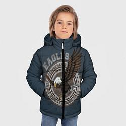 Детская зимняя куртка для мальчика с принтом Летящий орёл, цвет: 3D-черный, артикул: 10272060106063 — фото 2