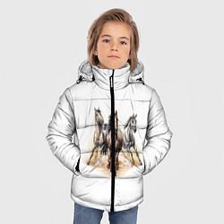 Куртка зимняя для мальчика Лошади цвета 3D-черный — фото 2