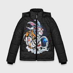 Куртка зимняя для мальчика Кролик космонавт цвета 3D-черный — фото 1