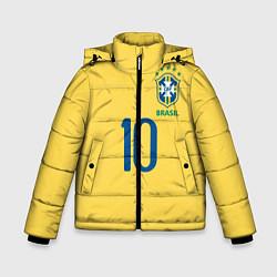 Детская зимняя куртка для мальчика с принтом СБОРНАЯ БРАЗИЛИИ ПЕЛЕ, цвет: 3D-черный, артикул: 10279774906063 — фото 1