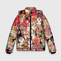 Куртка зимняя для мальчика Корги & Цветы цвета 3D-черный — фото 1
