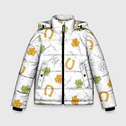 Куртка зимняя для мальчика Клевер на День святого Патрика цвета 3D-черный — фото 1