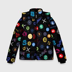 Куртка зимняя для мальчика ЛОГОТИПЫ КРИПТОВАЛЮТ Z цвета 3D-черный — фото 1