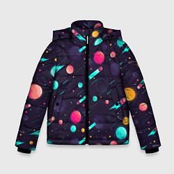 Куртка зимняя для мальчика Космические движения комет цвета 3D-черный — фото 1