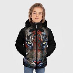 Куртка зимняя для мальчика Цветной тигр цвета 3D-черный — фото 2