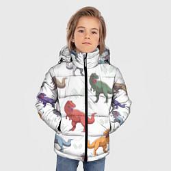 Куртка зимняя для мальчика Разноцветные тираннозавры цвета 3D-черный — фото 2