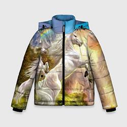 Детская зимняя куртка для мальчика с принтом Радужный единорог, цвет: 3D-черный, артикул: 10065040406063 — фото 1