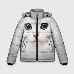 Куртка зимняя для мальчика Белый котик цвета 3D-черный — фото 1
