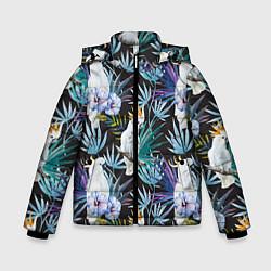 Куртка зимняя для мальчика Тропические попугаи цвета 3D-черный — фото 1