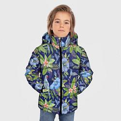 Детская зимняя куртка для мальчика с принтом Голубые попугаи, цвет: 3D-черный, артикул: 10065279506063 — фото 2