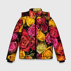 Детская зимняя куртка для мальчика с принтом Ассорти из роз, цвет: 3D-черный, артикул: 10067033006063 — фото 1