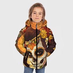 Детская зимняя куртка для мальчика с принтом Девушка. Сахарный череп, цвет: 3D-черный, артикул: 10071140306063 — фото 2