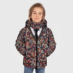 Куртка зимняя для мальчика Вязанный узор с галстуком - фото 2