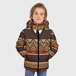 Куртка зимняя для мальчика Зимний узор с галстуком цвета 3D-черный — фото 2