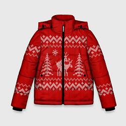 Куртка зимняя для мальчика Олени под елками цвета 3D-черный — фото 1