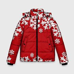 Куртка зимняя для мальчика Снежинки цвета 3D-черный — фото 1