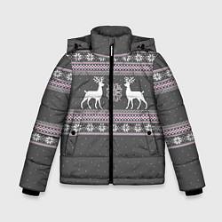 Куртка зимняя для мальчика Узор с оленями цвета 3D-черный — фото 1