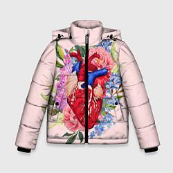 Детская зимняя куртка для мальчика с принтом Цветочное сердце, цвет: 3D-черный, артикул: 10079271506063 — фото 1
