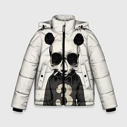 Куртка зимняя для мальчика Скелет панды цвета 3D-черный — фото 1