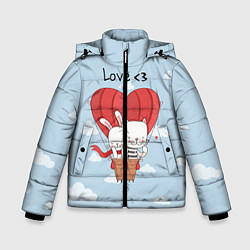 Куртка зимняя для мальчика Влюбленные на шаре цвета 3D-черный — фото 1